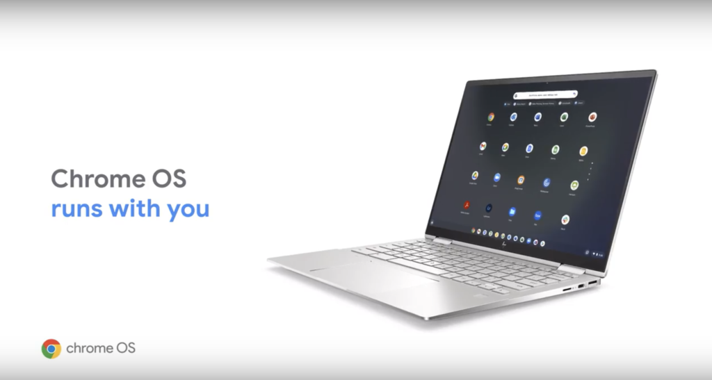 """Screen capture from a Chrome OS campaign featuring a Chromebook and the slogan, """"Chrome OS runs with you"""""""